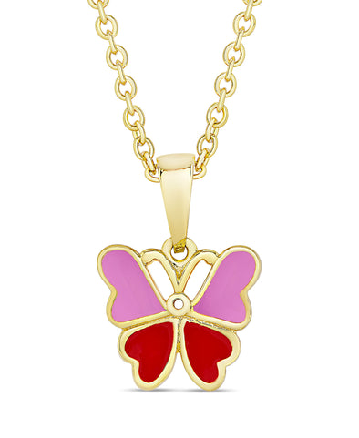 Butterfly Pendant (Pink / Red)