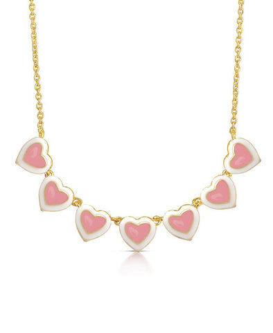 Pink & White Heart Links Necklace