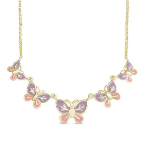 Graduated Butterfly Necklace (Pink & Purple)