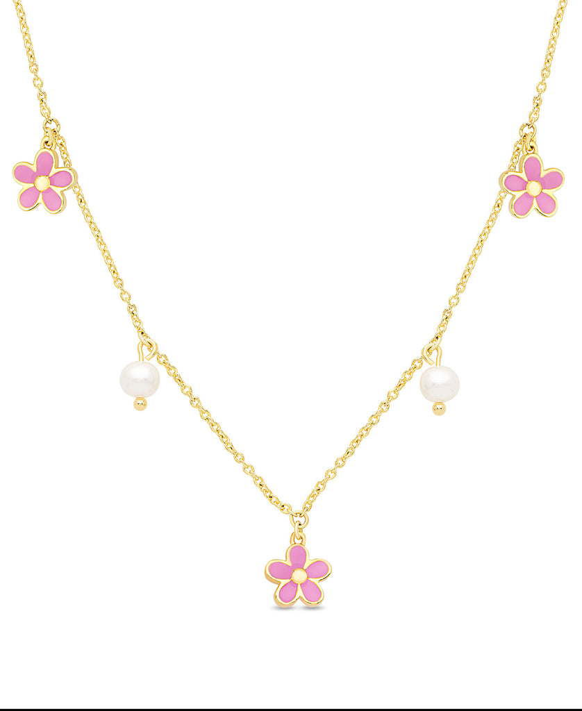 Flower and Freshwater Pearl Charms Necklace (Pink)-1