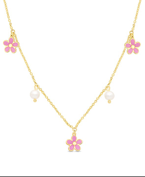 Flower and Freshwater Pearl Charms Necklace (Pink)