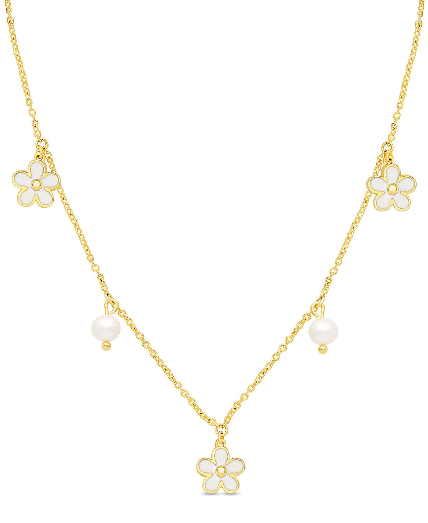 Flower and Freshwater Pearl Charms Necklace (White)-1