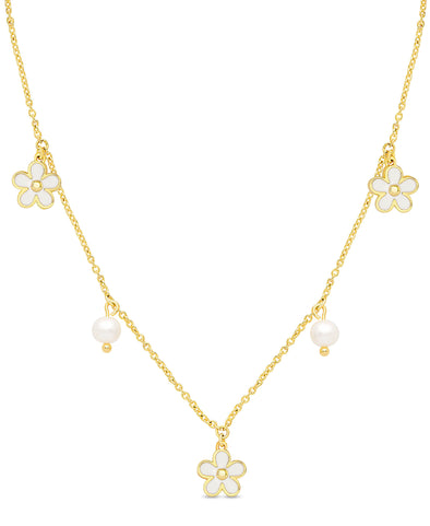 Flower and Freshwater Pearl Charms Necklace (White)