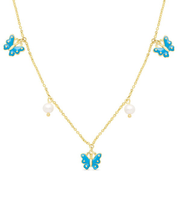 Butterfly and Freshwater Pearl Charms Necklace (Blue)