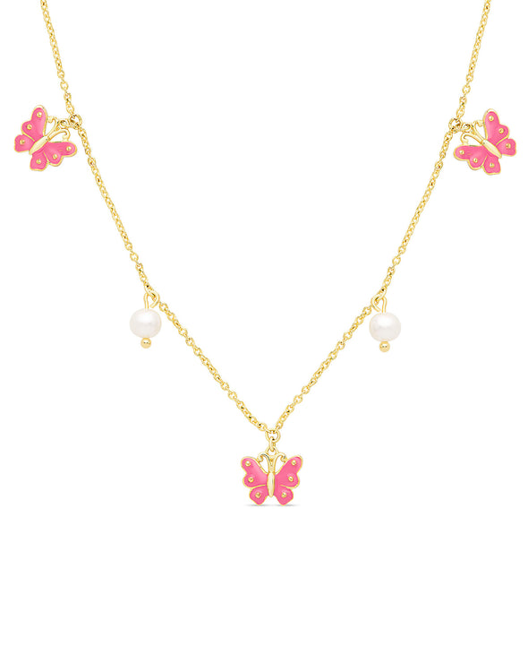Butterfly and Freshwater Pearl Charms Necklace (Pink)