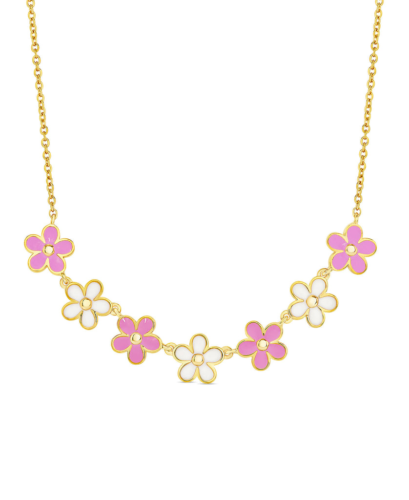 Flower Frontal Necklace (Pink / White)-1