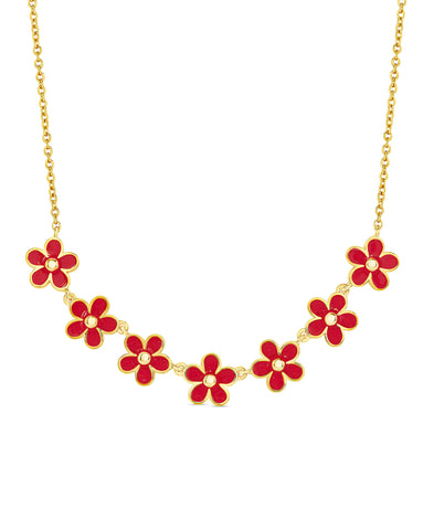 Flower Frontal Necklace (Red)