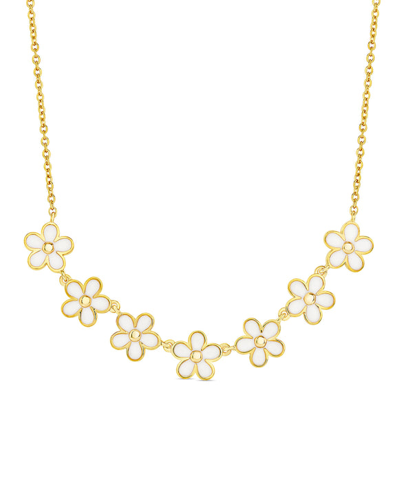 Flower Frontal Necklace (White)