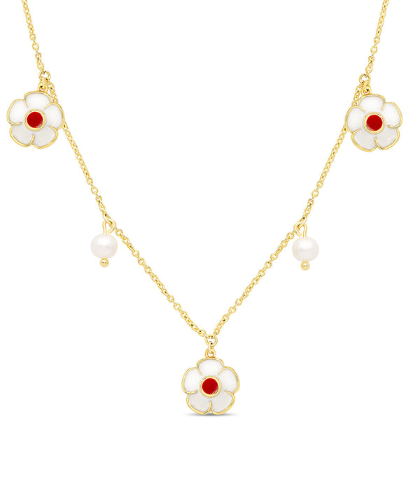 Flower and Freshwater Pearl Charms Necklace