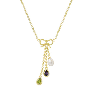 CZ and Pearl - Bow Charms Necklace