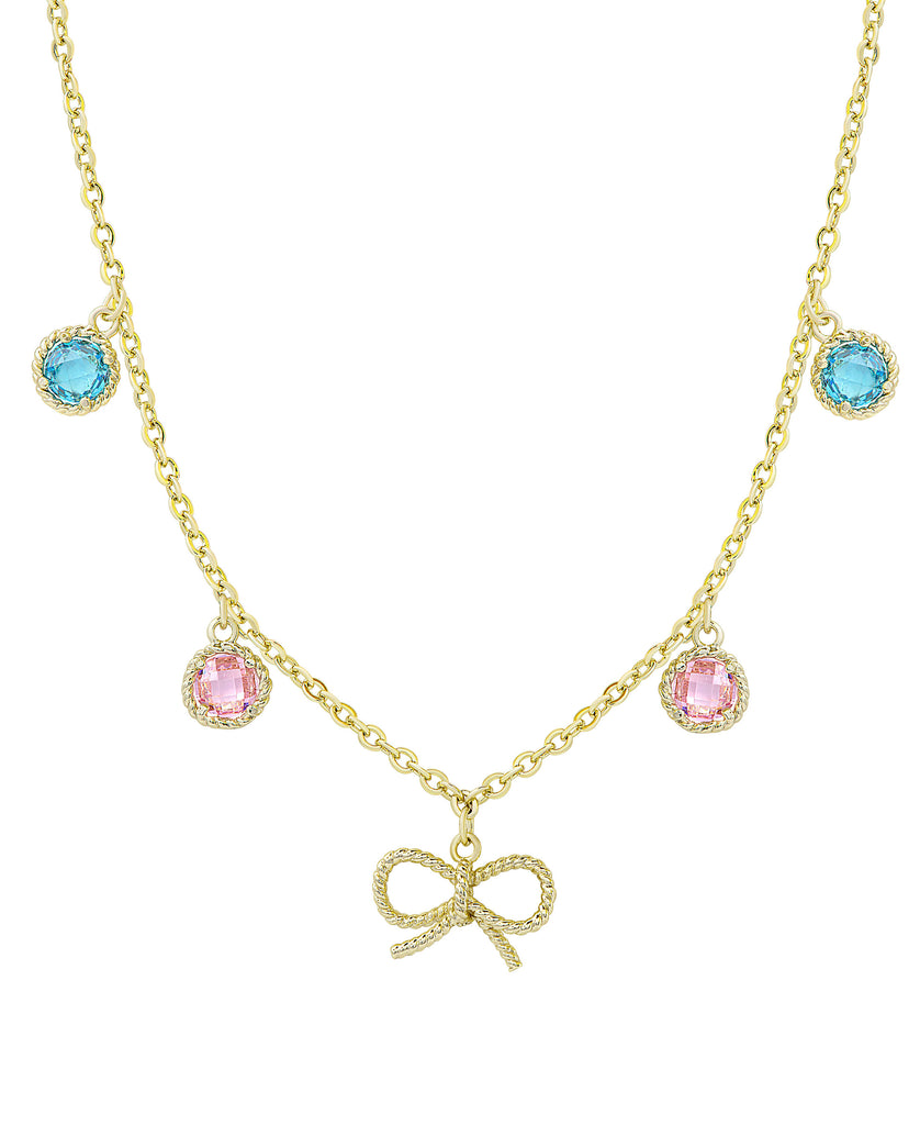 Colored CZ - Bow Necklace-1