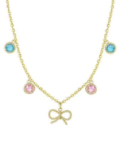 Colored CZ - Bow Necklace