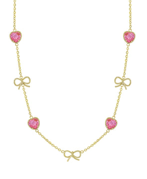 Heart CZ & Bows Necklace