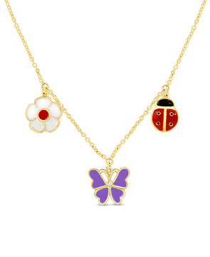 Flower, Ladybug, and Butterfly Charms Necklace