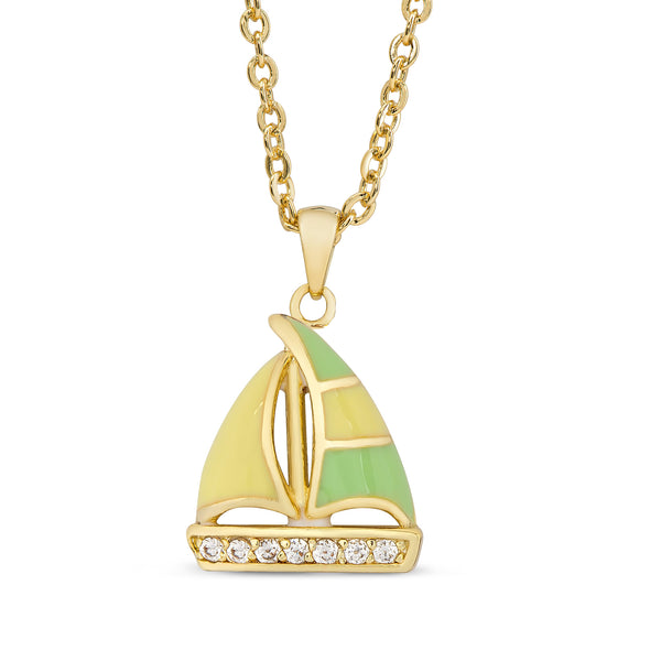 Sailboat Necklace with CZ
