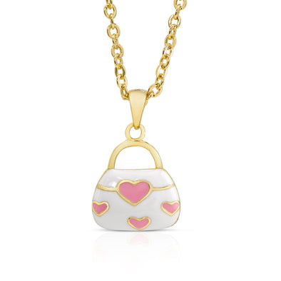Pink Hearts Handbag Necklace