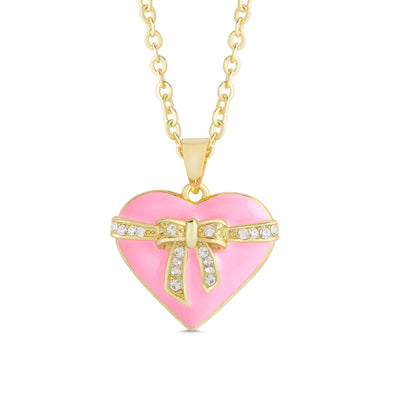 Heart & Ribbon Bow Necklace