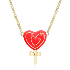 3D Heart Swirl Lollipop Necklace - Red