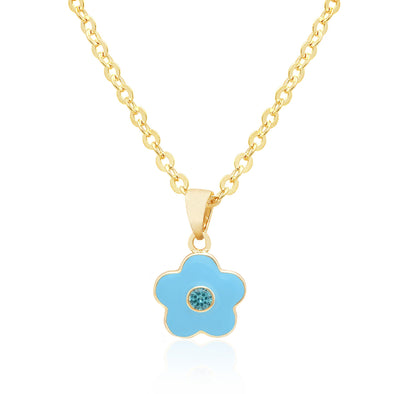 Flower with Crystal Necklace - Blue