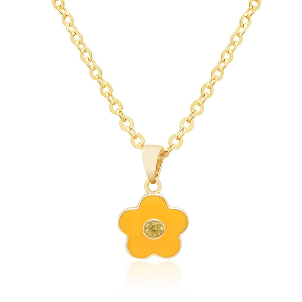 Flower with Crystal Necklace - Yellow