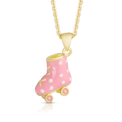 3D Roller Skate Necklace (White Polka Dot)