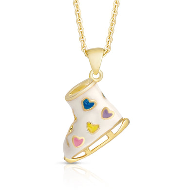 3D Ice Skate Necklace (Multi Hearts)