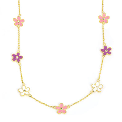 Flower CZ Station Necklace - Multi