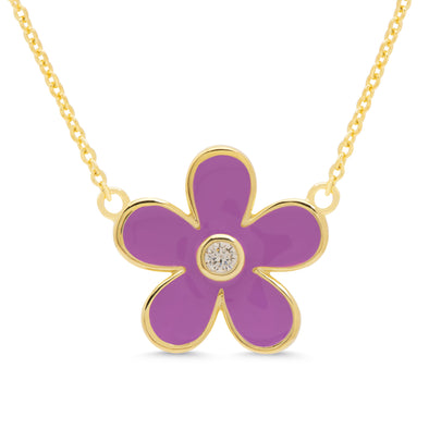 Flower CZ Pendant - Purple