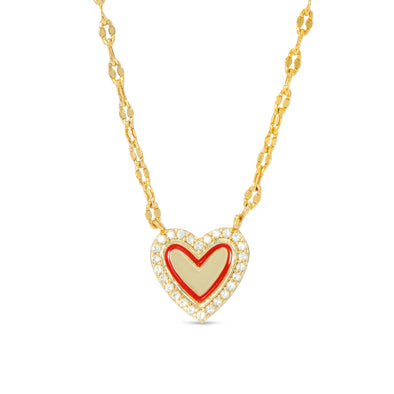 Red Heart & CZ Necklace