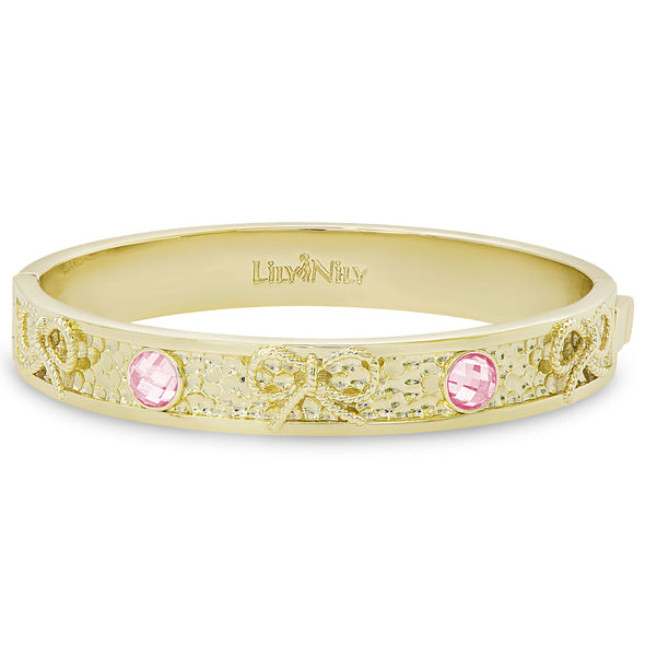 Bow and CZ Hammered Bangle (Pink)