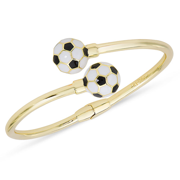 Soccer Ball Hinged Bypass Bangle (Black)