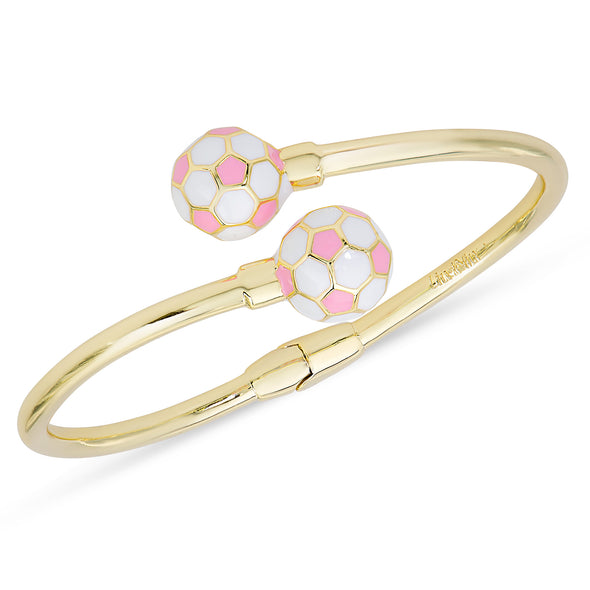 Soccer Ball Hinged Bypass Bangle (Pink)