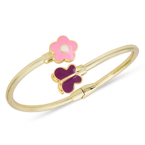 Flower & Butterfly Bypass Bangle
