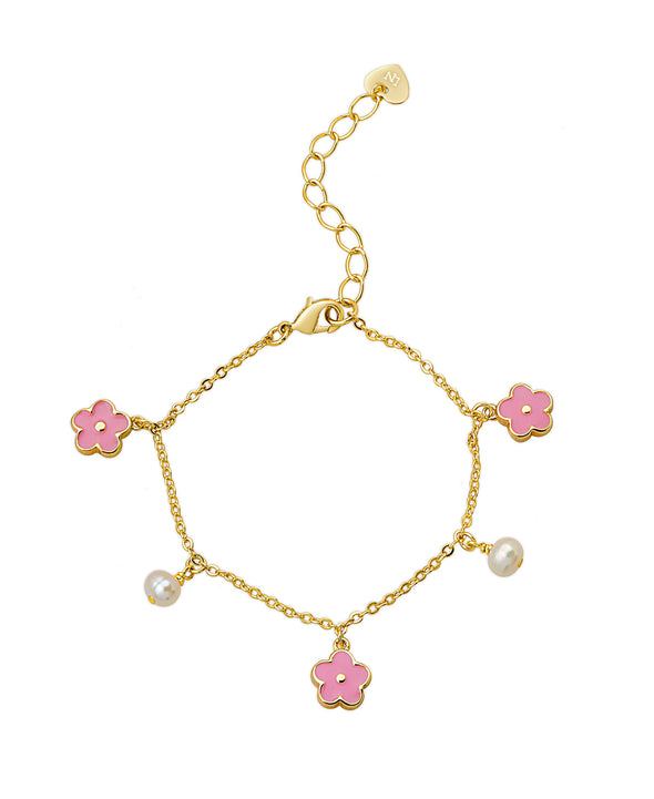 Flowers and Pearls Charm Bracelet