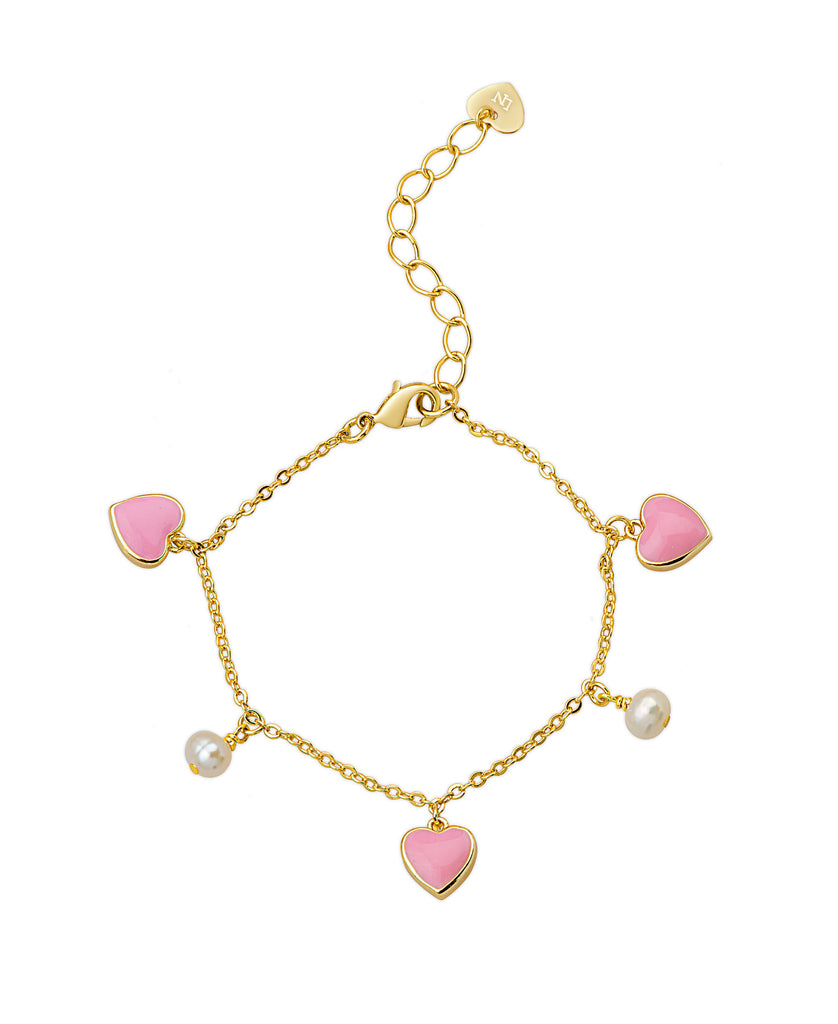 Hearts and Pearls Charm Bracelet-1