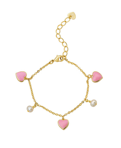 Hearts and Pearls Charm Bracelet