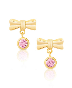 Bow CZ Drop Earrings in 18K Gold over Sterling Silver