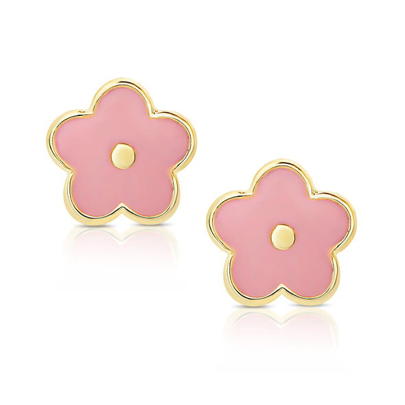 Flower Stud Earrings and Necklace Set - Pink