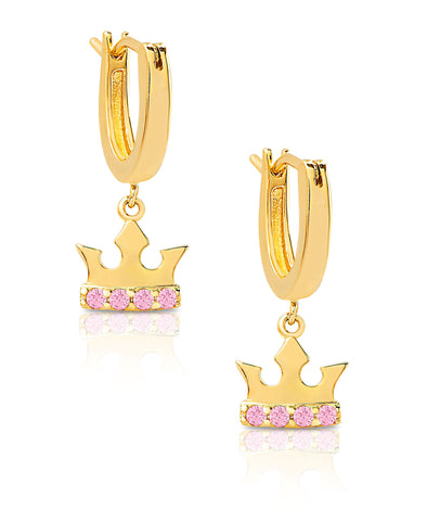 Princess Crown Drop Earrings in 18K Gold over Sterling Silver