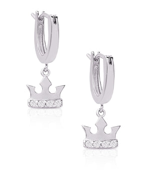 Princess Crown Drop Earrings in Sterling Silver