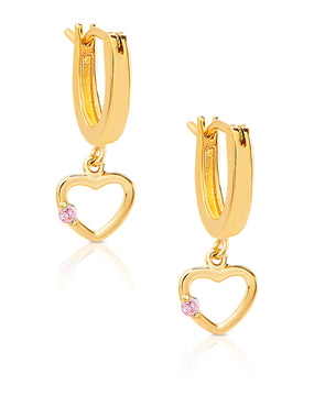Open Heart Drop Earrings in 18K Gold over Sterling Silver