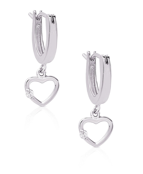 Open Heart Drop Earrings in Sterling Silver