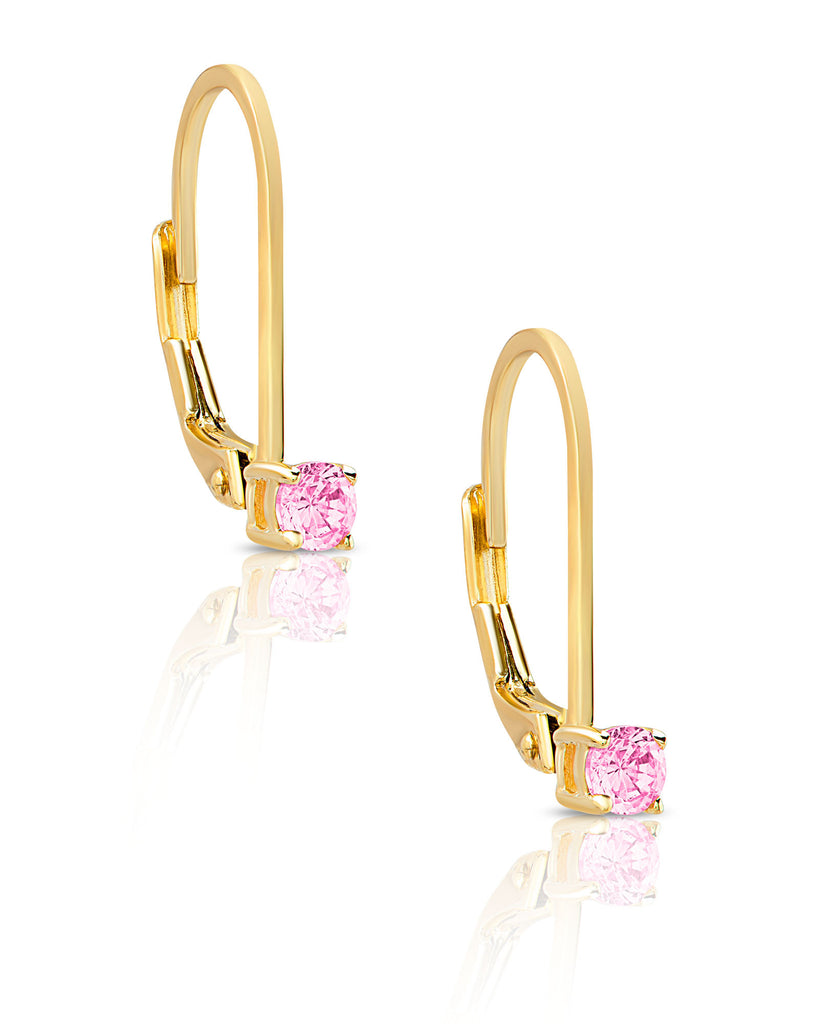 CZ Drop Earrings in 18K Gold over Sterling Silver-1