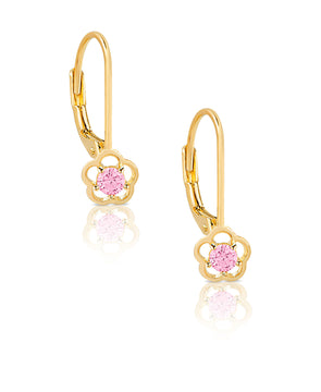 Flower CZ Drop Earrings in 18K Gold over Sterling Silver