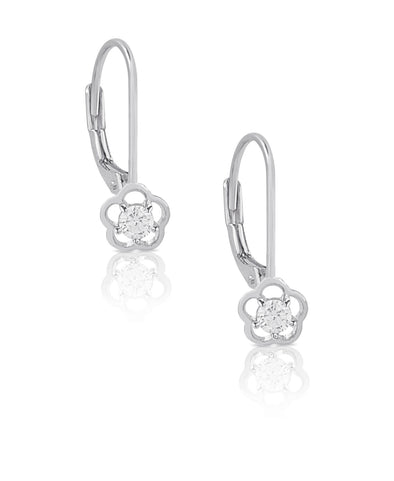 Flower CZ Drop Earrings in Sterling Silver