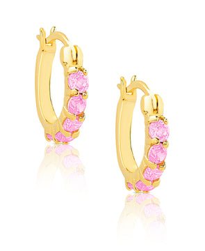 CZ Hoop Earrings in 18K Gold over Sterling Silver
