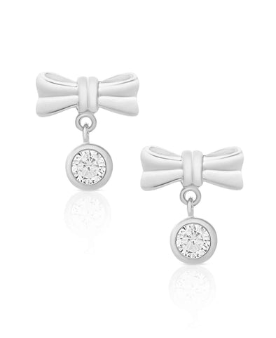 Bow CZ Drop Earrings in Sterling Silver