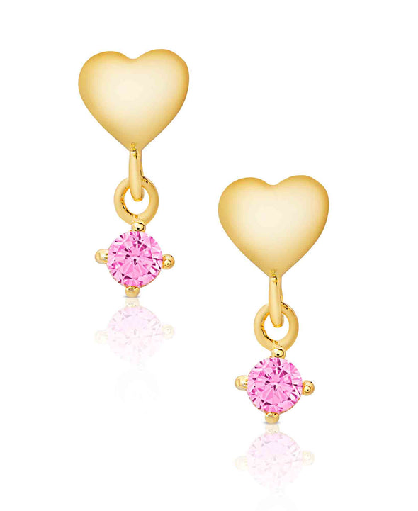 Heart CZ Drop Earrings in 18K Gold over Sterling Silver