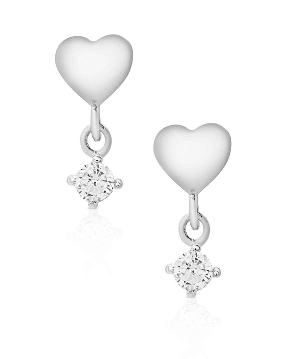 Heart CZ Drop Earrings in Sterling Silver