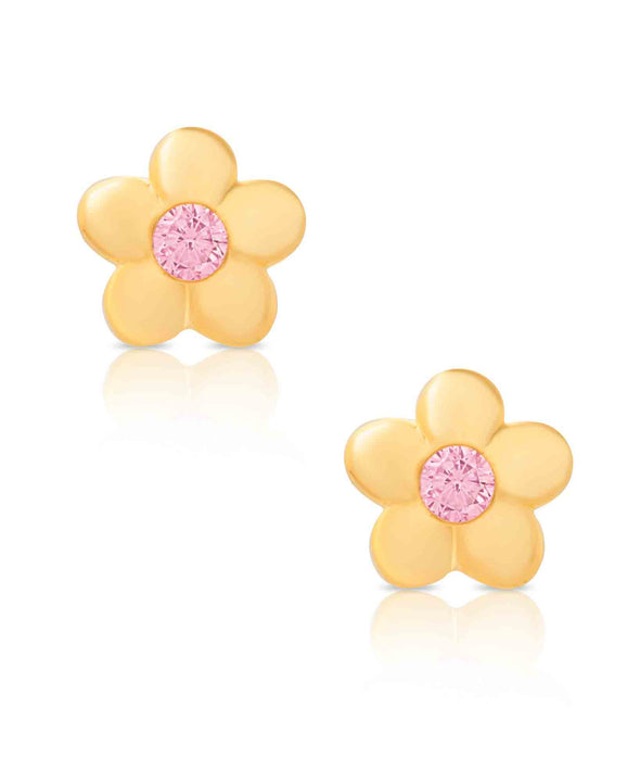 Flower CZ Stud Earrings in 18K Gold over Sterling Silver